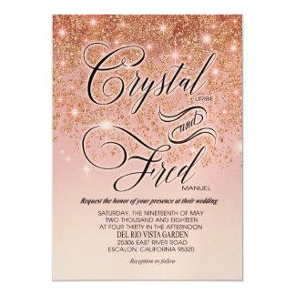 Crystal glitter cascade Wedding Champ Shim 12,7 X 17,8 Cm Inbjudningskort