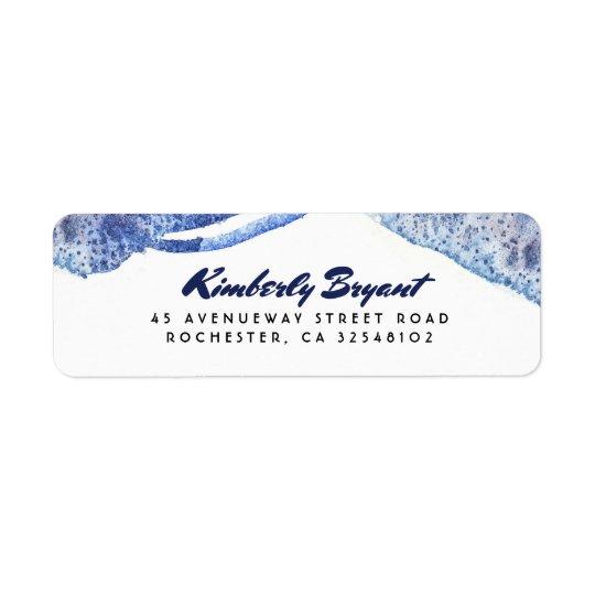 Crystal modernt bröllop för blåttvattenfärg returadress etikett