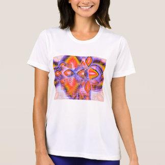 Crystal stjärnadans, abstrakt purpurfärgad orange t shirt