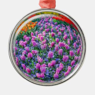 Crystall boll med rosa hyacint och blommor julgransprydnad metall