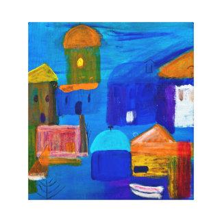 Cubisten formar vid sjösidan i akryl av Kay gal. Canvastryck