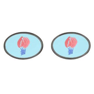 Cufflinks för luftballongOval Stålgrå Pläterade Manschetterknappar