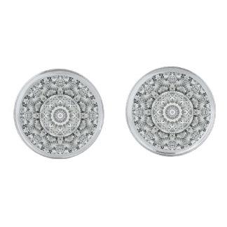 Cufflinks för vitlövmönster, 4 formar silverpläterade manschetterknappar