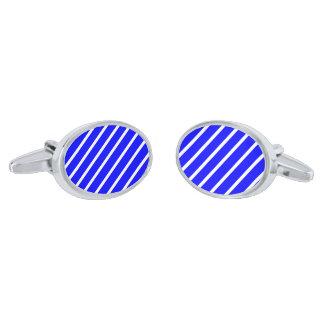 Cufflinks med Vit-Royal blåttrandar Silverpläterade Manschetterknappar