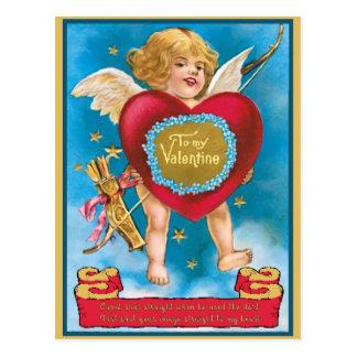 Cupid skjuten raksträcka till min hjärtavintage vykort