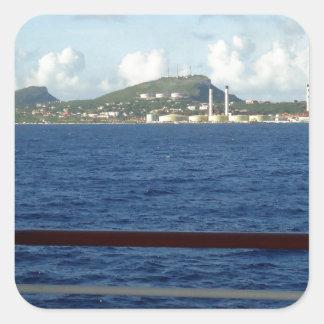 Curacao kusten fyrkantigt klistermärke