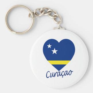 Curacao sjunker hjärta rund nyckelring