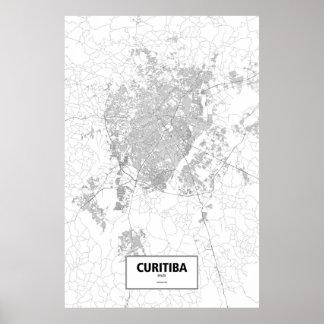 Curitiba Brasilien (svarten på vit) Poster