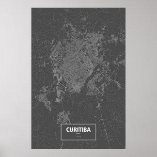 Curitiba Brasilien (vit på svart) Poster
