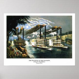 Currier & Ives - affisch - mästare Mississippi
