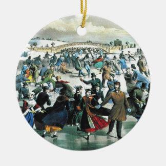 Currier & Ives - prydnad - Central Park vinter Julgransprydnad Keramik