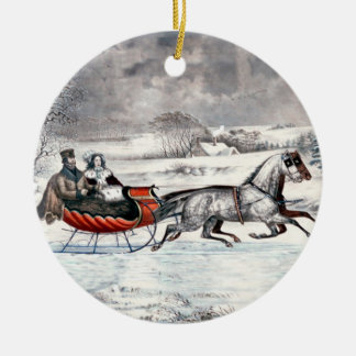 Currier & Ives - prydnad - vägen, vinter Julgransprydnad Keramik