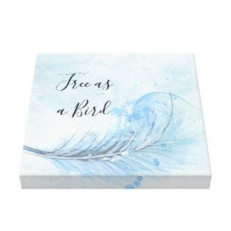 Custo för blåttvattenfärgfjäder som är fri som ett canvastryck
