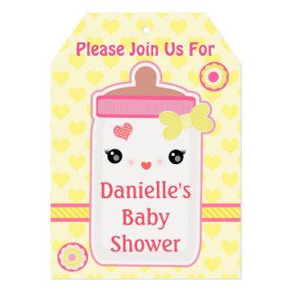 Custom Kawaii Bottle Baby Girl Shower Invitations 12,7 X 17,8 Cm Inbjudningskort