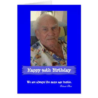Customisable ljusa blått för fotofödelsedag hälsningskort