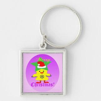 ♫♥Cute Santa Chcken roliga högvärdiga Keychain♥♪ Fyrkantig Silverfärgad Nyckelring