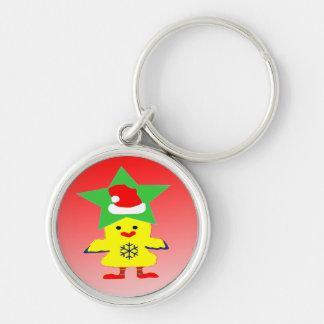 ♫♥Cute Santa Chcken roliga högvärdiga Keychain♥♪ Rund Silverfärgad Nyckelring