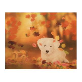 Cute white dog Art on wood 25,5 cm x 20 cm Trätavla