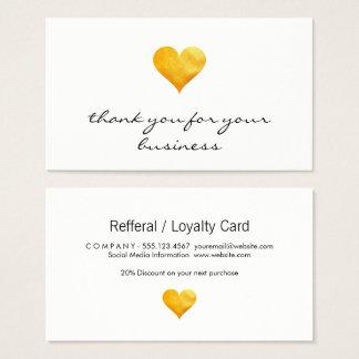 Cutesy guld- hjärtatack visitkort