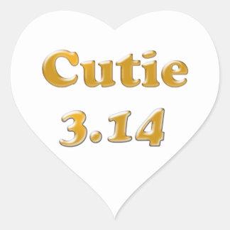 Cutie 3,14 Pi dag Hjärtformat Klistermärke