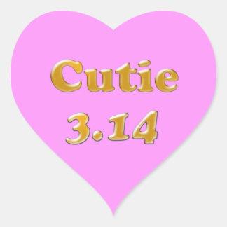 Cutie 3,14 Pi-dagrosor Hjärtformat Klistermärke