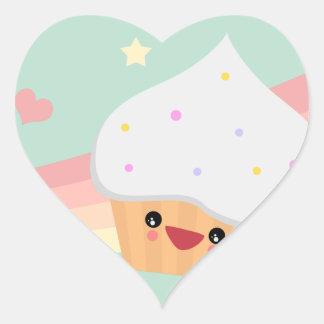 Cutie muffin hjärtformat klistermärke