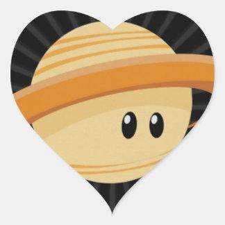 Cutie Saturn Hjärtformat Klistermärke