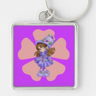 """""""Cutie skälmskt naturväxen"""" Keychain Fyrkantig Silverfärgad Nyckelring"""