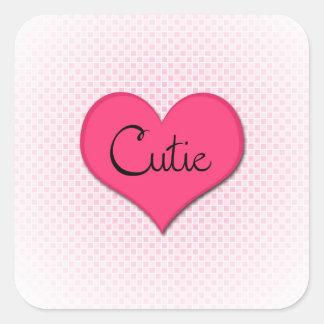 Cutie - valentinklistermärkear! fyrkantigt klistermärke