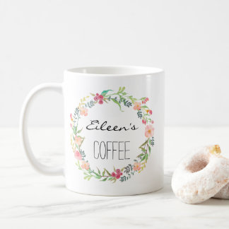Cutom namnmugg, personlignamnmugg, Floral-1 Kaffemugg