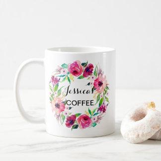 Cutom namnmugg, personlignamnmugg, Floral-2 Kaffemugg