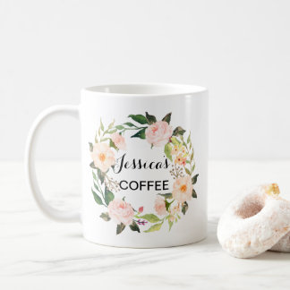 Cutom namnmugg, personlignamnmugg, Floral-3 Kaffemugg