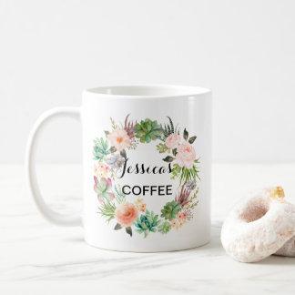 Cutom namnmugg, personlignamnmugg, Floral-4 Kaffemugg