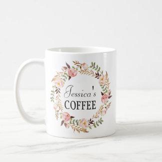 Cutom namnmugg, personlignamnmugg, Floral-7 Kaffemugg