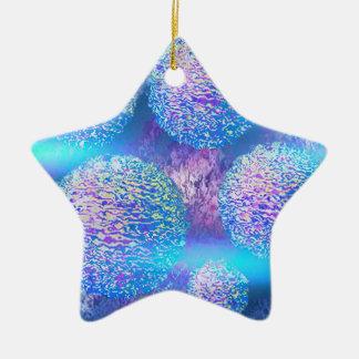 Cyan Azure galax för yttre Fractal för flöde III Julgransprydnad Keramik