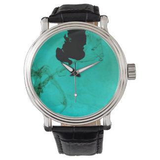 Cyan vätskebläckklocka armbandsur