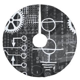 CyberpunkTechgeeken utrustar elektronisk Julgransmatta Borstad Polyester