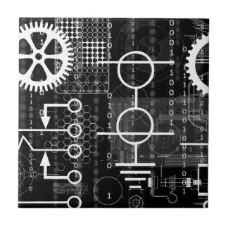 CyberpunkTechgeeken utrustar elektronisk Liten Kakelplatta