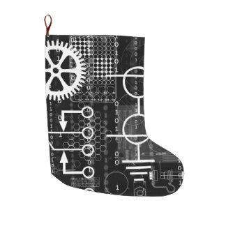 CyberpunkTechgeeken utrustar elektronisk Stor Julstrumpa