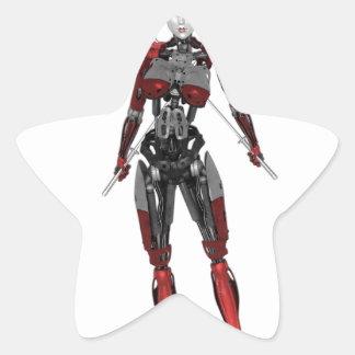 CyborgSamurai som går med två svärd Stjärnformat Klistermärke