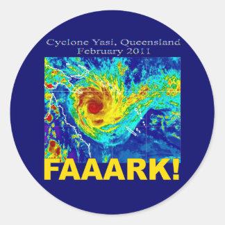 Cyclone Yasi, Queensland, Februari 2011 Runt Klistermärke