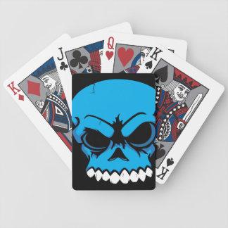 Cykel för blåttvektorskalle som leker kort spelkort