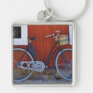 cykel fyrkantig silverfärgad nyckelring
