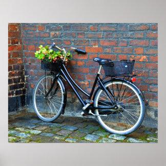 Cykel med blommabasketen, Köpenhamn, Danmark Poster