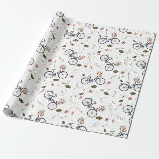 Cykel & vår blommor - inpackning av papper presentpapper