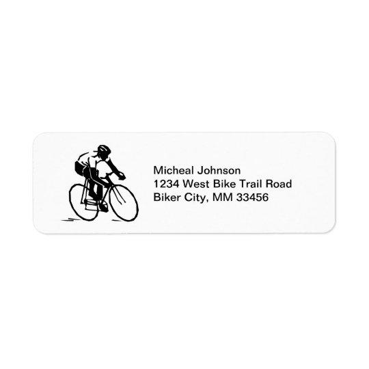 CykelRacer i rörelsecykelryttare i svart vit Returadress Etikett