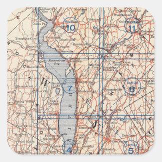 Cykelvägar i New York och Connecticut 4 Fyrkantigt Klistermärke
