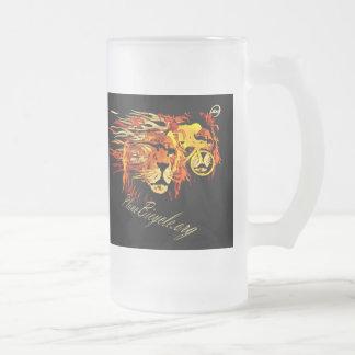 Cykla något liknande ett lejont på Fire Plano Frostat Ölglas