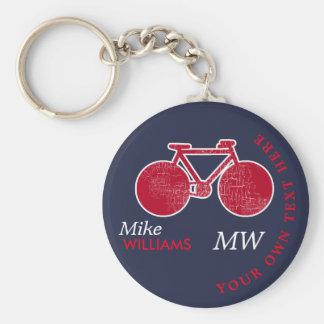 cykla röd cykel på blåttnyckelring med namn rund nyckelring