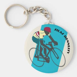 Cyklist (blått) rund nyckelring